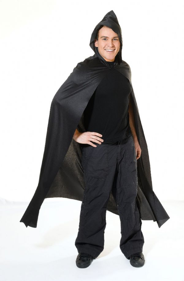Adults Cape Long Hooded Costume Superhero Villian Super Hero Fancy Dress Outfit